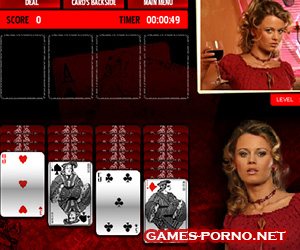 Erotic solitaire, strip poker game