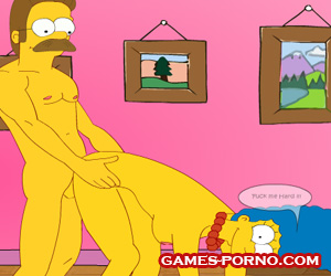 Marge Simpson cheating on Homer with a neighbor Flanders